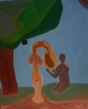 Men create Men to create more Men by Srinivasan R, Conceptual Painting, Oil on Canvas Board, Green color
