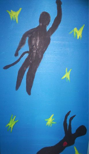 Icarus meets hanuman on his way down by Srinivasan R, Expressionism Painting, Oil on Canvas Board, Blue color
