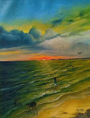 St Kilda Beach by Kumar Ranadive, Impressionism Painting, Oil & Acrylic on Canvas, Green color