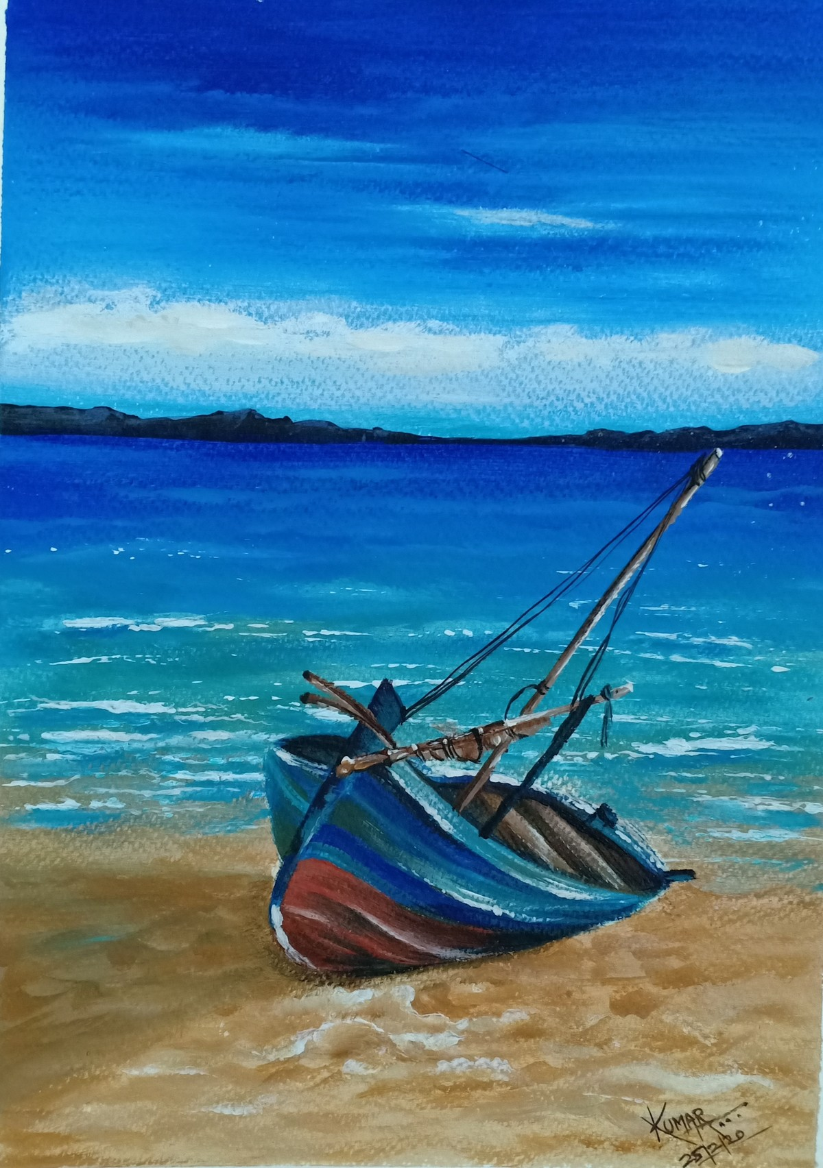 Seascape by Kumar Ranadive, Expressionism Painting, Acrylic on Paper, Blue color