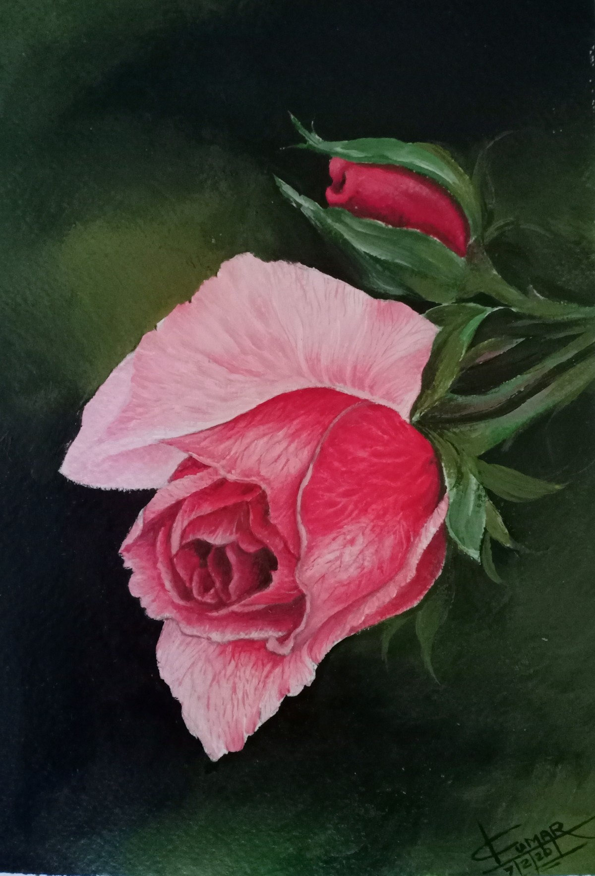 Rose by Kumar Ranadive, Expressionism Painting, Acrylic & Ink on Paper, Green color
