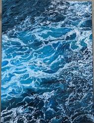 water by Sahithi Paleti, Expressionism Painting, Oil on Canvas Board, Blue color