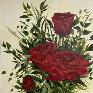 Red Rose 1 by Gita Jain, Impressionism Painting, Oil on Canvas, Beige color