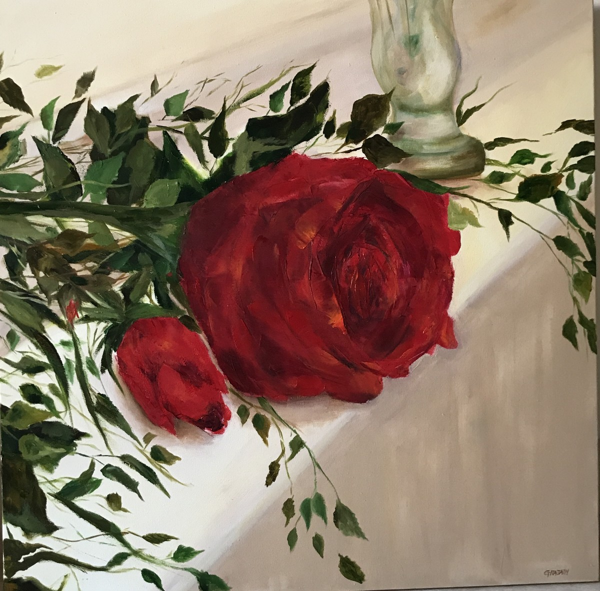 Red Rose 2 by Gita Jain, Impressionism Painting, Oil on Canvas, Brown color