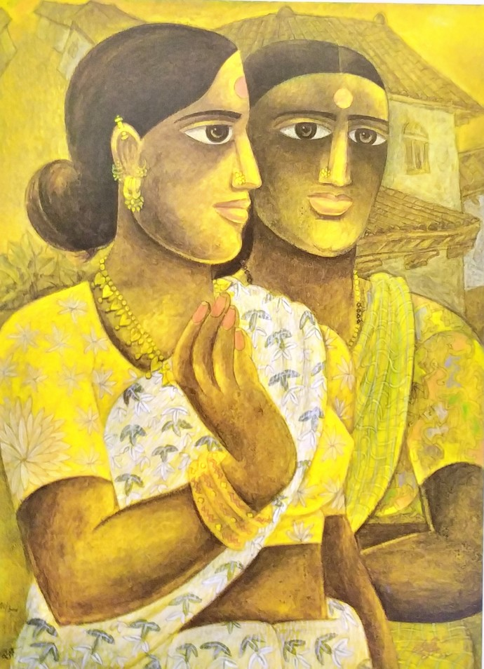Untitled by Laxman Aelay, Expressionism Painting, Print on Paper, Beige color