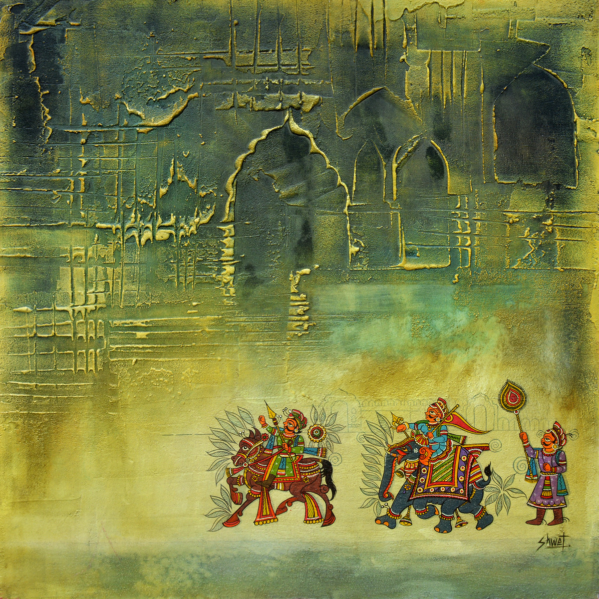 Untitled by Shwet Goel, Art Deco Painting, Mixed Media on Canvas, Green color