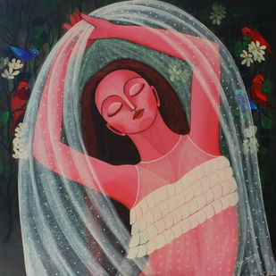 Venus_4 by Alka Choudhary, Expressionism Painting, Acrylic on Canvas, Brown color