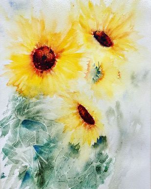 Sunshine by Nisha Sehjpal, Impressionism Painting, Watercolor on Paper, Beige color