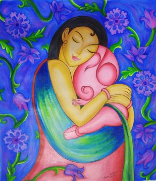 Mother love by Pratibha Jadhav, Traditional Painting, Acrylic on Canvas, Cerulean Blue color