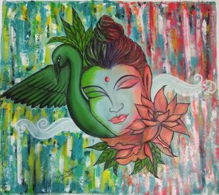 Buddha in peace by Pratibha Jadhav, Traditional Painting, Acrylic on Canvas, Lemon Grass color