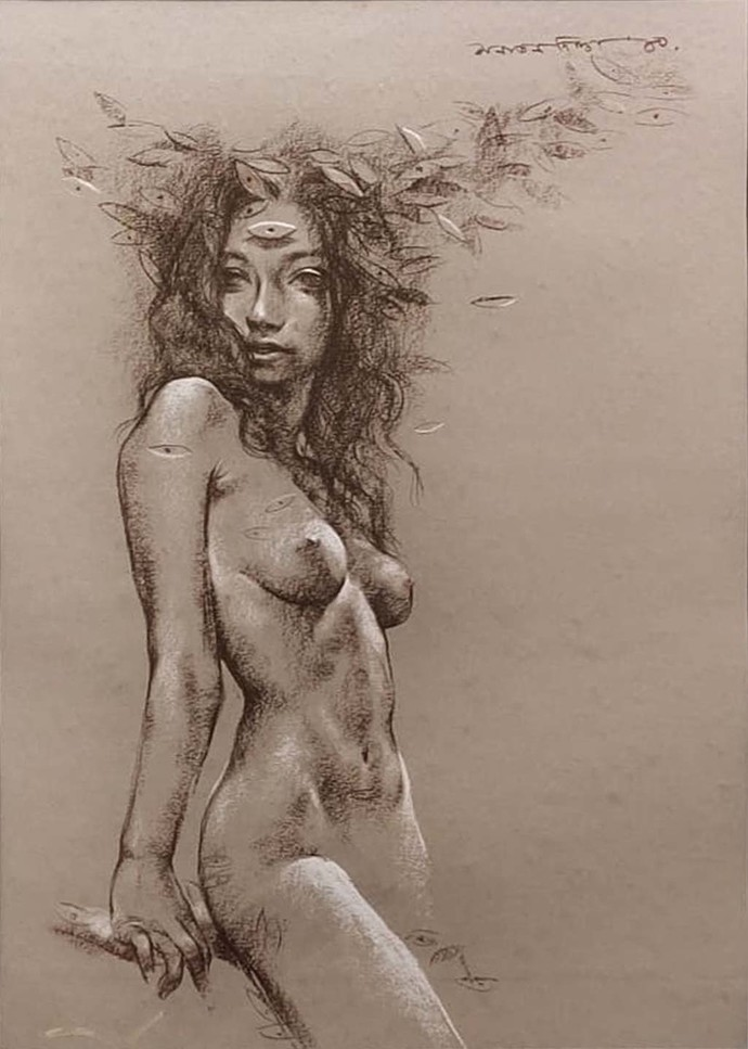 Nude by Sanatan Dinda, Expressionism Painting, Conte on Paper, Brown color
