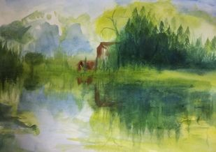 Landscape by Rajesh Sunkara , Impressionism Painting, Acrylic on Paper, Green color