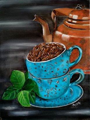 The Blue Coffee Cup by Ayesha Jilkar, Expressionism Painting, Acrylic on Canvas, Gray color