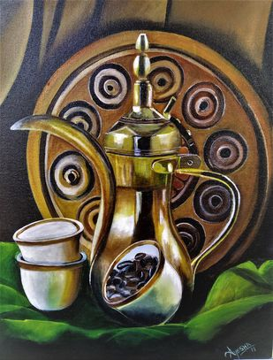 Dallah (Arabic Coffee Pot) by Ayesha Jilkar, Art Deco Painting, Acrylic on Canvas, Brown color