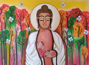 Buddha by Nandini, Expressionism Painting, Acrylic on Canvas, Brown color