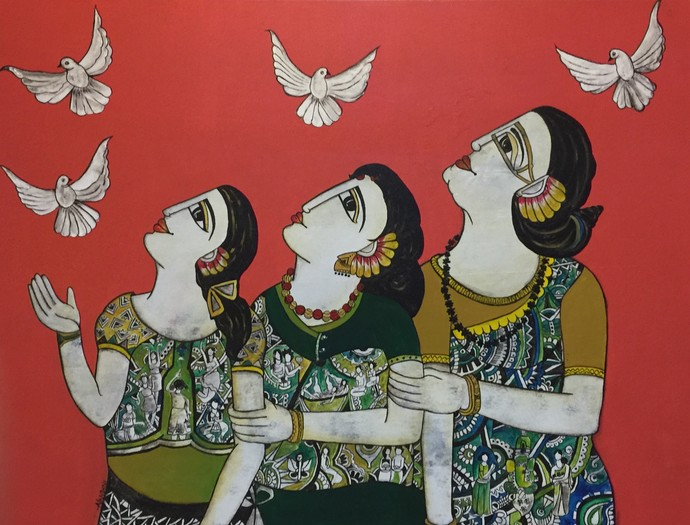 There Generation together by Nandini, Expressionism Painting, Acrylic on Canvas, Red color