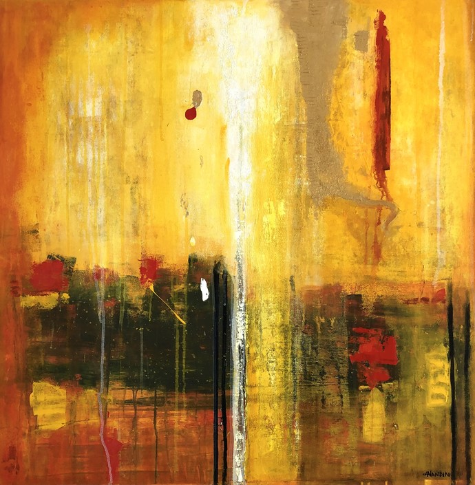 Golden hour by Nandini, Abstract Painting, Acrylic on Canvas, Brown color