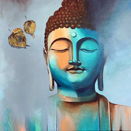 Enlightenment -1 by Jagadish Gadagin, Traditional Painting, Acrylic on Canvas, Cyan color