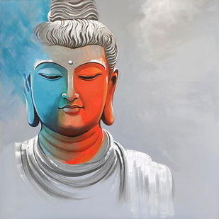 Enlightenment -3 by Jagadish Gadagin, Expressionism Painting, Acrylic on Canvas, Gray color