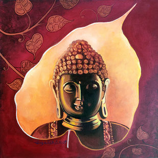 Enlightenment -5 by Jagadish Gadagin, Traditional Painting, Acrylic on Canvas, Brown color