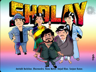 Sholay by Vibhu Kumar, Digital Digital Art, Digital Print on Enhanced Matt, Wafer color