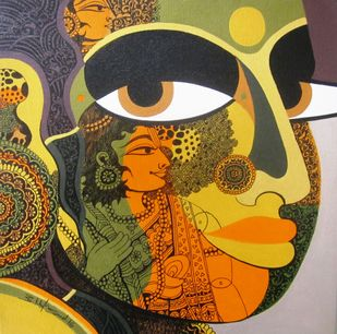 Goddess Sita Maa I by Bolgum Nagesh Goud, Traditional Painting, Acrylic & Ink on Canvas, Brown color