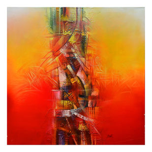 Untitled by Shwet Goel, Abstract Painting, Acrylic on Canvas, Red color