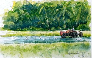 Landscape by Rajmohan, Impressionism Painting, Watercolor & Ink on Paper, Green color