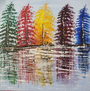 Multi-coloured Trees reflecting in water by Gitika Singh, Abstract Painting, Acrylic on Canvas, Brown color