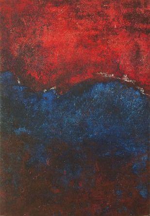 Blood Blue Moon Digital Print by Priyamvada Gaur ,Abstract