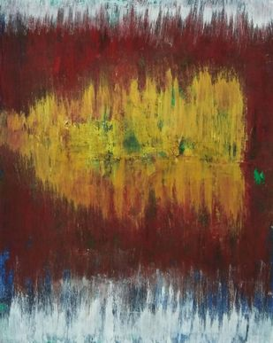 002/100 by Priyamvada Gaur , Abstract Painting, Acrylic on Paper, Irish Coffee color