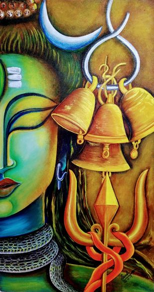 Omkara by SUSMITA MANDAL, Decorative Painting, Acrylic on Canvas, Leather Jacket color