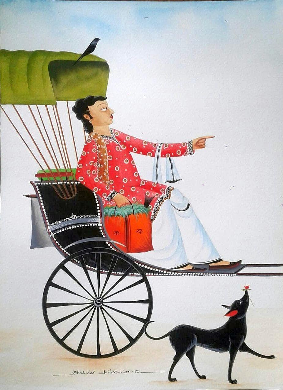 Babu in Rickshaw by Bhaskar Chitrakar, Folk Painting, Natural colours on paper, Gray color