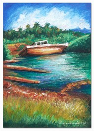 Boat by Rajmohan, Fantasy Painting, Oil Pastel on Board, Green color