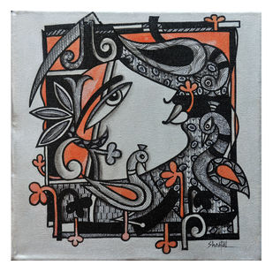 Untitled by Sheetal Chitlangiya, Illustration Painting, Mixed Media on Canvas, Gray color