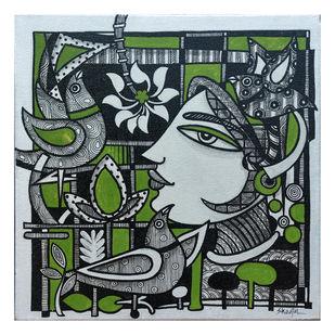 Untitled by Sheetal Chitlangiya, Illustration Painting, Mixed Media on Canvas, Green color