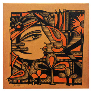 Untitled by Sheetal Chitlangiya, Illustration Painting, Mixed Media on Canvas, Brown color