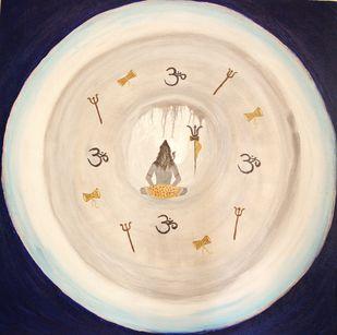SHIVA by PRITI HINGORANI, Expressionism Painting, Acrylic on Canvas, Beige color