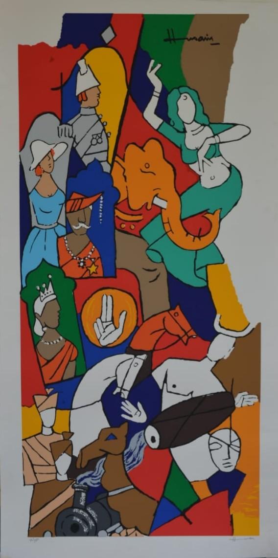 British raj by M F Husain, Expressionism Serigraph, Serigraph on Paper, Brown color