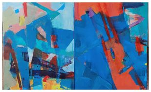 A Touch of Earth 2015 by Murali Sivaramakrishnan, Abstract Painting, Acrylic on Canvas, Blue color