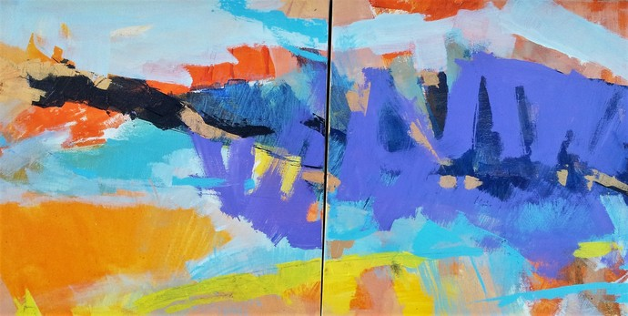 Space Within by Murali Sivaramakrishnan, Abstract Painting, Acrylic on Canvas, Blue color