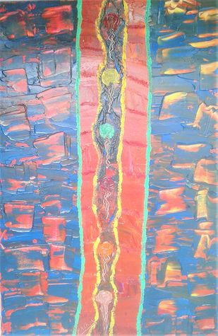 Abstract Painting by Najmuddin Kachwala, Abstract Painting, Acrylic on Canvas, Pink color