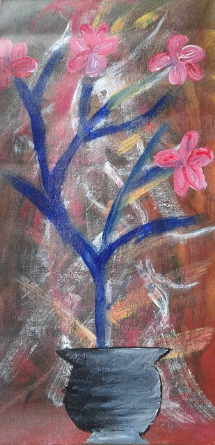 Abstract Painting of Flower pot by Najmuddin Kachwala, Abstract Painting, Acrylic on Canvas, Brown color