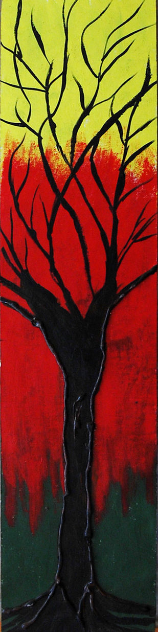 Abstract Painting of tree by Najmuddin Kachwala, Abstract Painting, Acrylic on Paper, Red color