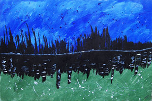 Impression Of Livelihood by Najmuddin Kachwala, Abstract Painting, Acrylic on Paper, Blue color