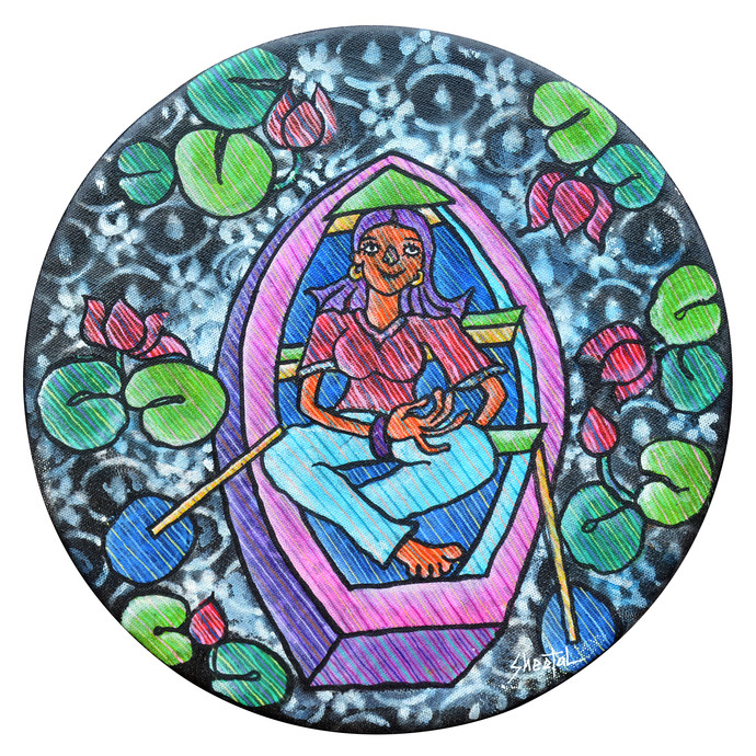 Untitled by Sheetal Chitlangiya, Decorative Painting, Mixed Media on Canvas, Green color