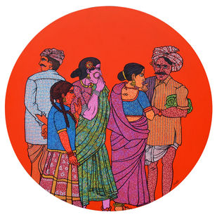Impugnment by Sheetal Chitlangiya, Illustration Painting, Mixed Media on Canvas, Red color