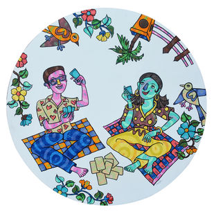 Together by Sheetal Chitlangiya, Illustration Painting, Mixed Media on Canvas, Cyan color