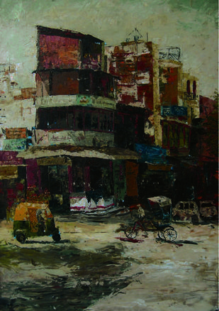 cityscape by Prasoon Poddar, Expressionism Painting, Oil on Canvas, Brown color