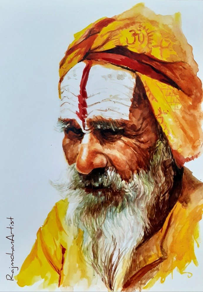 Indian sadhu by Rajmohan, Expressionism Painting, Watercolor on Paper, Brown color